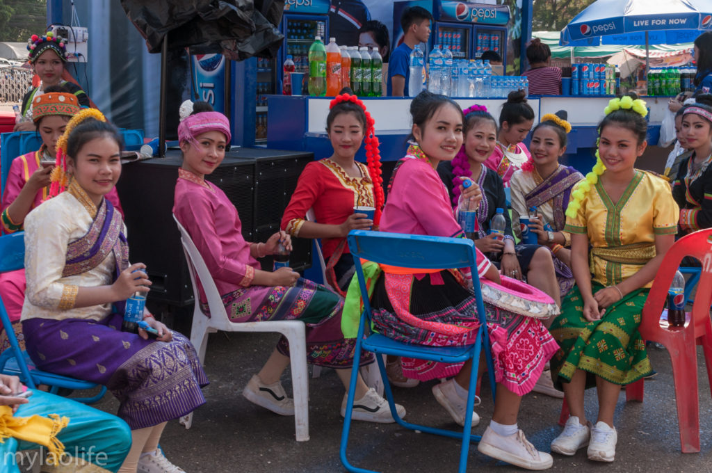 That Luang Festival Tikhy Game Vientiane Laos traditional dancers