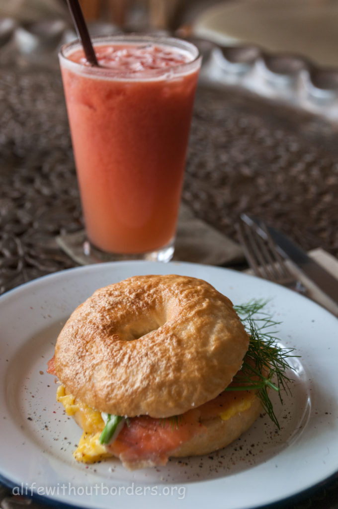 Vientiane Cabana Cafe salmon egg bagel