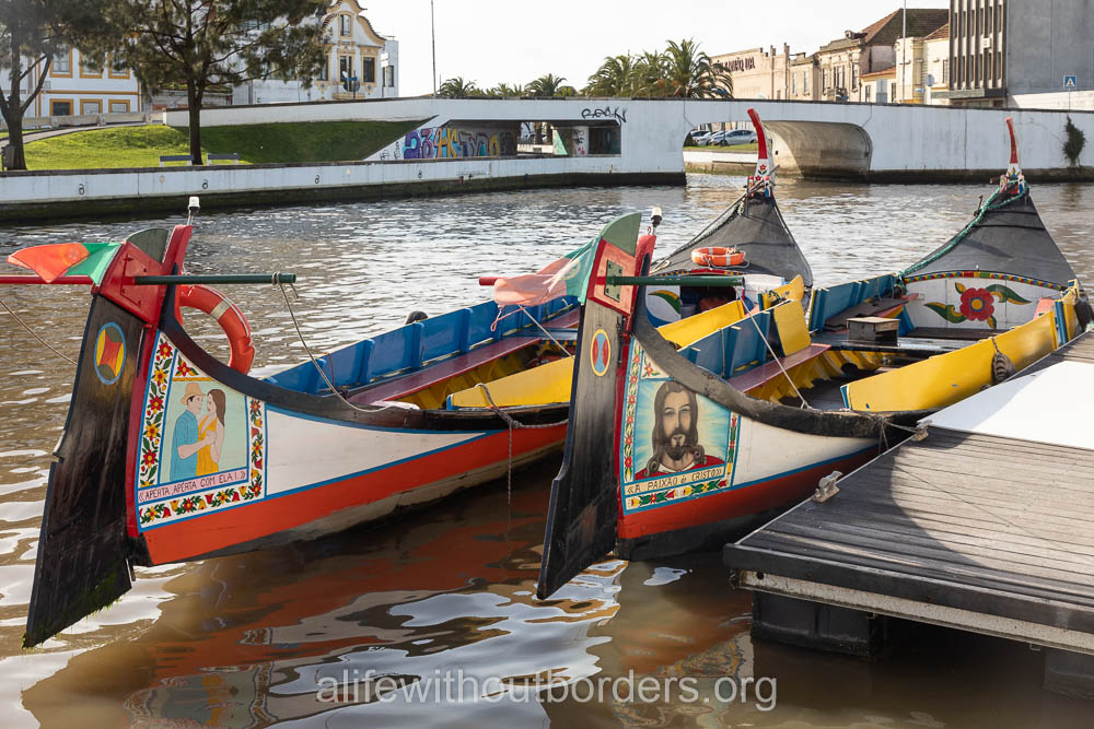 Traditional boats line the Aveiro canals